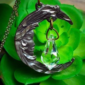 Mystical Moon Necklace with dangly Crystal